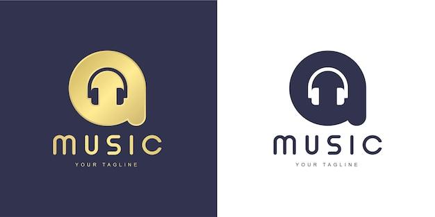"""Minimalistyczna litera logo z koncepcją """"muzyki"""" i """"piosenki"""""""