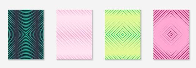 Minimalistyczna modna okładka. cyfrowy ekran mobilny, aplikacja internetowa, strona, układ dziennika. żółty i różowy. minimalistyczna modna okładka z geometrycznymi elementami linii i kształtami.