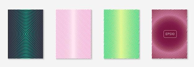 Minimalistyczna modna okładka. raport roczny hipster, aplikacja internetowa, książka, koncepcja prezentacji. żółty i różowy. minimalistyczna modna okładka z liniowymi geometrycznymi elementami i kształtami.