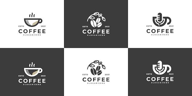 Minimalistyczna, nowoczesna kolekcja logo kawy