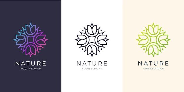 Minimalistyczna, nowoczesna róża kwiatowa. szablony logo.