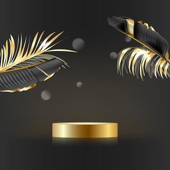Minimalistyczna scena o geometrycznych kształtach cylindryczne podium na czarnym tle ze złotymi liśćmi