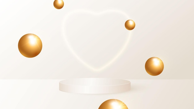 Minimalistyczna scena z beżowym cylindrycznym podium i latającymi złotymi kulami.