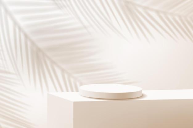 Minimalistyczna scena z cylindrycznym podium i cieniem palmy w odcieniach brązu.