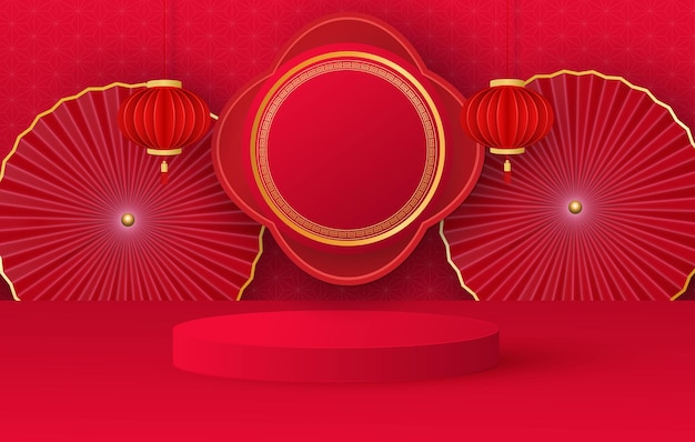 Minimalistyczna scena z czerwonym cylindrycznym podium i chińskimi elementami świątecznymi. scena do demonstracji produktu, prezentacja. wektor
