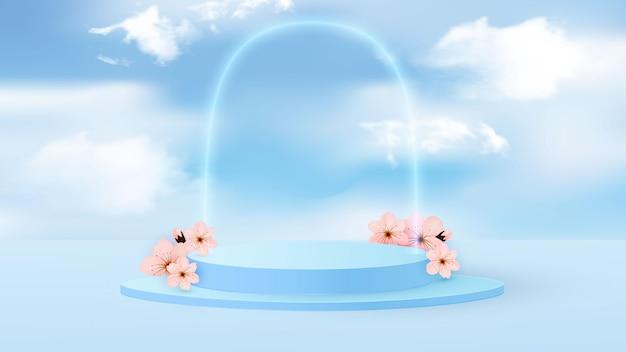 Minimalistyczna scena z geometrycznymi kształtami. cylindryczne podium w kolorze jasnoniebieskim z papierowymi wiosennymi kwiatami.