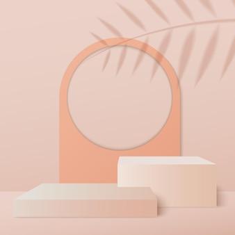 Minimalistyczna scena z geometrycznymi podiumami na kremowym tle z cieniami liści