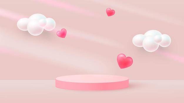 Minimalistyczna scena z różowym cylindrycznym podium i latającymi sercami. spadające cienie. scena pokazu produktu kosmetycznego, gablota. wektor