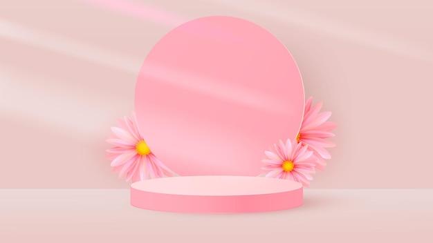 Minimalistyczna scena z różowym cylindrycznym podium, okrągłą ramą i wiosennymi kwiatami.