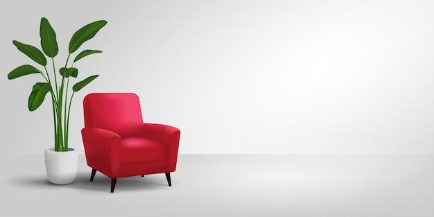 Minimalistyczna sceneria studia z nowoczesnymi czerwonymi krzesłami