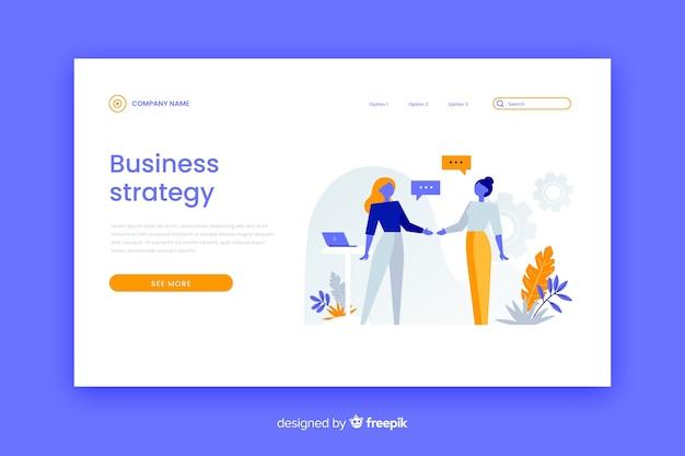 Minimalistyczna strona docelowa strategii biznesowej z kolorowymi postaciami