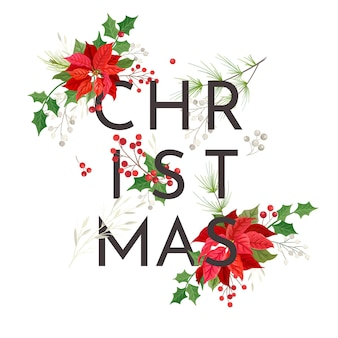 Minimalistyczna świąteczna karta kwiatowa poinsecji, szablon zaproszenia na przyjęcie wektorowe, nowoczesne stacjonarne liście xmas, dekoracja sezonowa, ilustracja rama zimowa, pozdrowienia kwiatowe 2020