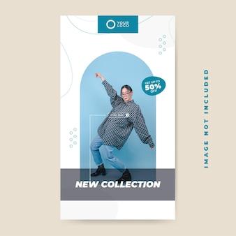 Minimalistyczna wyprzedaż mody nowa kolekcja post w mediach społecznościowych, szablon instastory