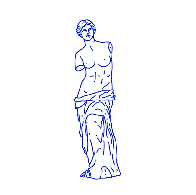 Minimalistyczna zarysowana ilustracja antycznej greckiej statuy kobiety na białym tle