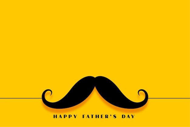 Minimalistyczna żółta kartka z życzeniami szczęśliwy dzień ojca wąsy