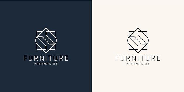 Minimalistyczne abstrakcyjne meble z linii sztuki. projekt logo