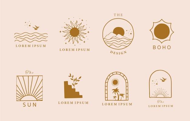 Minimalistyczne brązowe logo linii ze słońcem, morzem, górą naturalną