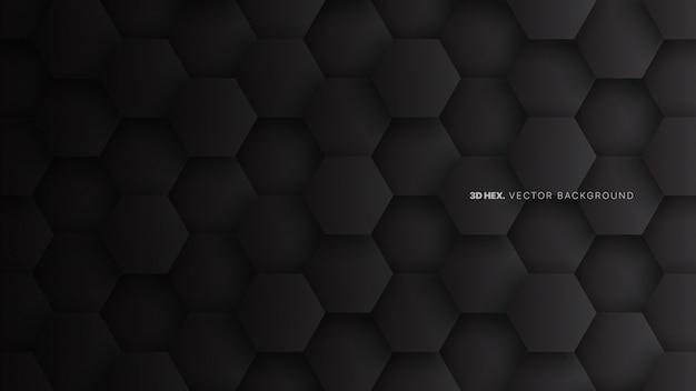 Minimalistyczne czarne sześciokąty streszczenie technologia tło