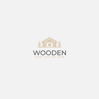 Minimalistyczne drewniane logo domu, luksusowe logo domu