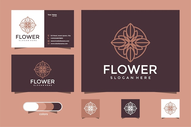 Minimalistyczne eleganckie kwiatowe logo dla urody, kosmetyków, jogi i spa. projekt logo i wizytówki