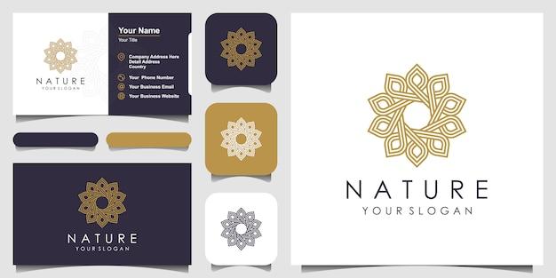 Minimalistyczne eleganckie kwiatowe logo róży dla urody, kosmetyków, jogi i spa. projekt logo i wizytówki