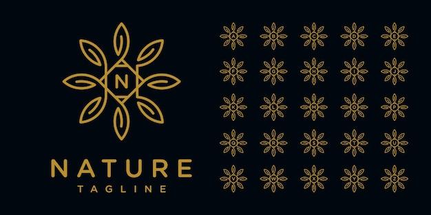 Minimalistyczne, eleganckie logo kwiatowe w stylu grafiki liniowej