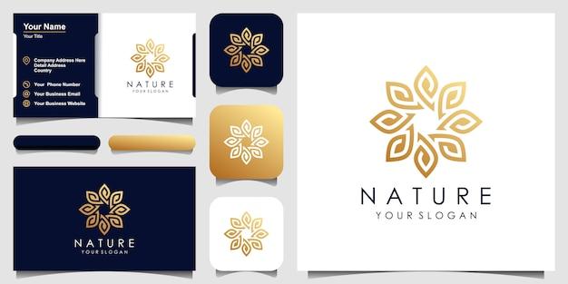 Minimalistyczne eleganckie logo z liści i kwiatów róży dla urody, kosmetyków, jogi i spa. projekt logo i wizytówki