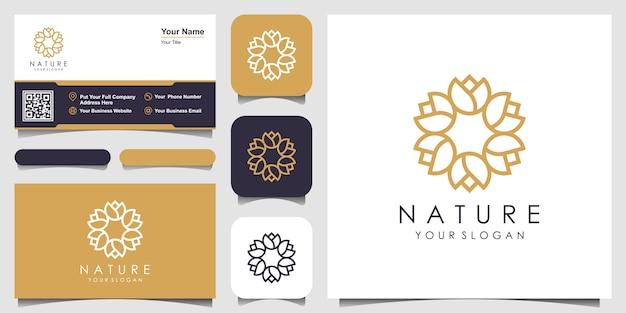 Minimalistyczne eleganckie okrągłe logo z kwiatową różą i projekt wizytówki. logo dla urody, kosmetyków, jogi i spa.