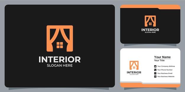 Minimalistyczne eleganckie wnętrze logo z brandingiem wizytówek