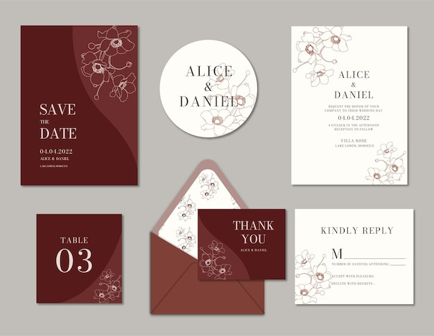 Minimalistyczne eleganckie zaproszenie na ślub
