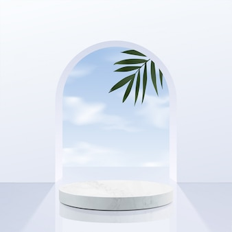 Minimalistyczne, geometryczne podium z białego marmuru z niebem