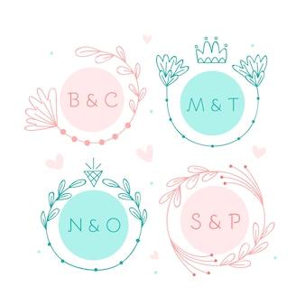 Minimalistyczne grupowe monogramy ślubne w pastelowych kolorach
