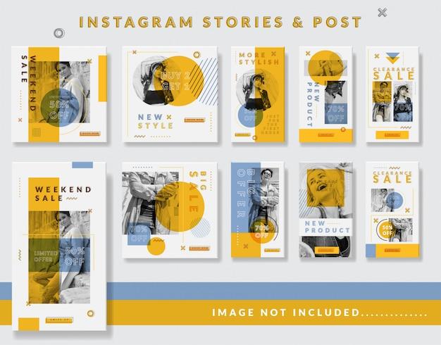 Minimalistyczne historie na instagramie i zestaw szablonów postów