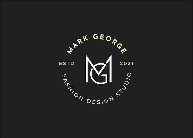 Minimalistyczne ilustracje szablonu projektu logo litery początkowej mg