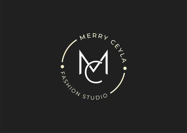 Minimalistyczne ilustracje szablonu projektu logo początkowego listu mc