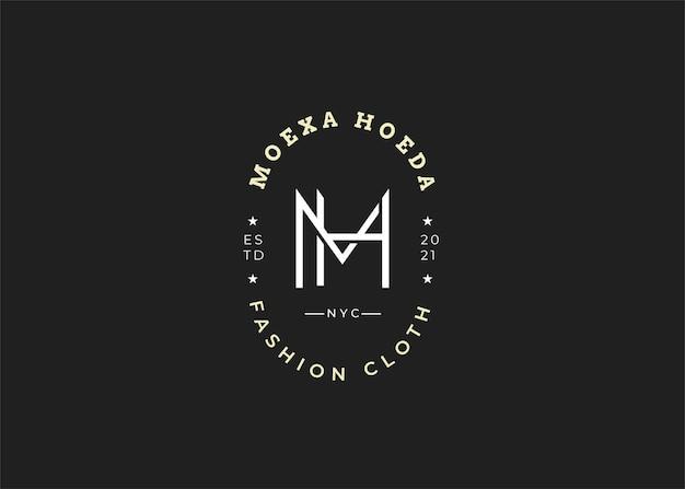 Minimalistyczne ilustracje szablonu projektu logo początkowego listu mh