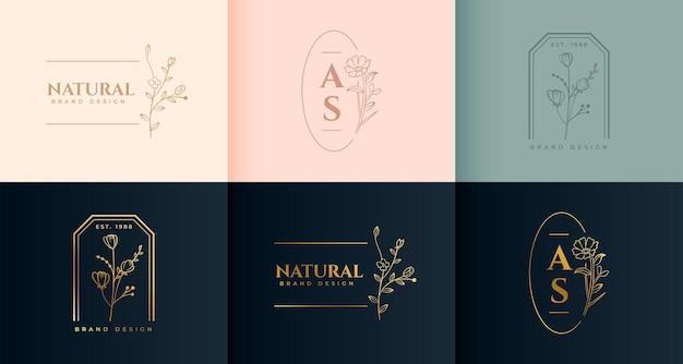 Minimalistyczne kwiatowe logo w ozdobnym stylu