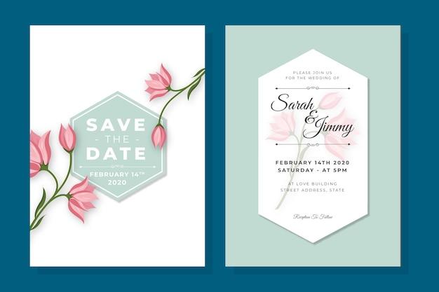 Minimalistyczne kwiaty szablon zaproszenia ślubne