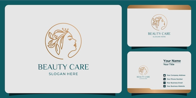 Minimalistyczne logo abstrakcyjne piękno salonu i spa sylwetka koncepcja logo i szablon wizytówki