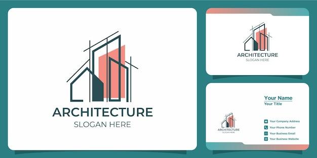 Minimalistyczne logo architektoniczne z projektem logo w stylu artystycznym i szablonem wizytówki