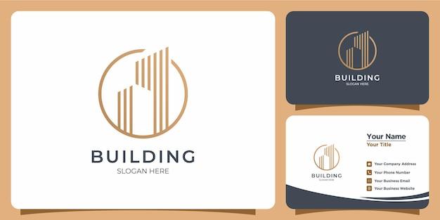 Minimalistyczne logo budynku z projektem logo w stylu sztuki linii i szablonem wizytówki