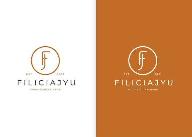 Minimalistyczne logo fj z literą w kształcie koła