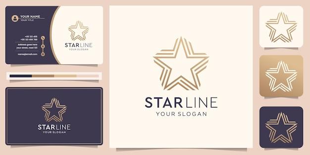 Minimalistyczne logo gwiazdy w stylu sztuki linii minimalistyczny symbol gwiazdy i linia w połączeniu z minimalnym luksusowym złotym wzorem i szablonem wizytówki wektor premium