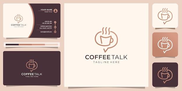 Minimalistyczne logo kawy z projektem rozmowy na czacie. twórcza koncepcja linii sztuki w stylu inspiracji do rozmowy o kawie