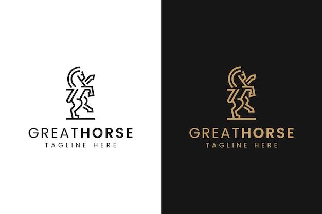 Minimalistyczne logo konia ze stylem grafiki liniowej