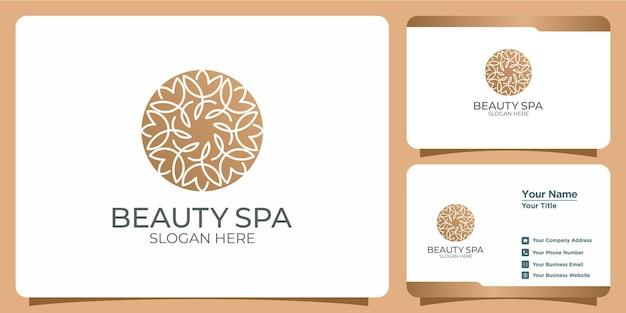 Minimalistyczne logo kwiatu urody z projektem logo w stylu sztuki linii i szablonem wizytówki
