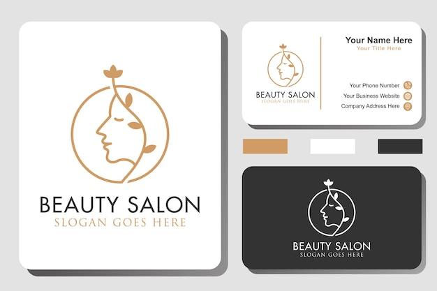 Minimalistyczne logo linii salonu piękności natury z tożsamością lub wizytówką