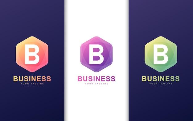 Minimalistyczne logo litery b w kształcie sześciokąta z abstrakcyjną koncepcją
