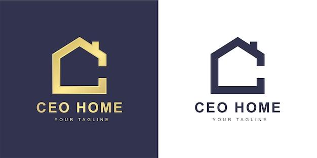 Minimalistyczne logo litery c z koncepcją domu lub nieruchomości