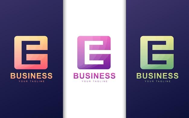 Minimalistyczne logo litery e w kształcie kwadratu z abstrakcyjną koncepcją